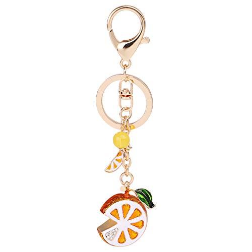 YCS Obst Schlüsselbund Schlüsselanhänger Mode Schlüsselbund Accessoires Obst Zitrone Anhänger Metall Schlüsselbund Geldbörse Handtasche Auto Charm Schlüsselbund Geschenk, gelb -