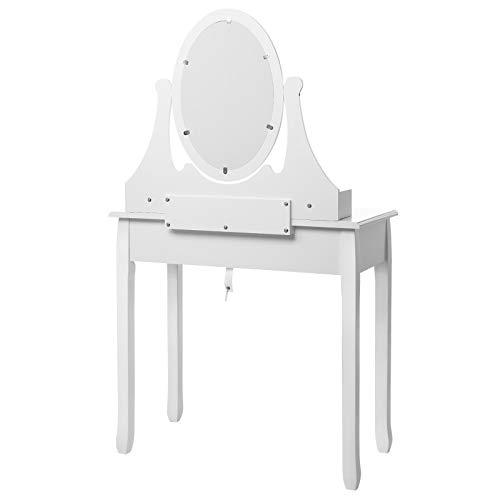 Songmics® Schminktisch Frisierkommode Frisiertisch Kosmetiktisch mit Spiegel inkl. Hocker, weiß, Holz, RDT002 - 10