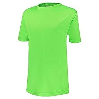 Alps to Ocean Sports Kinder Sportshirt Funktions T-Shirt Teamsport (schnelltrocknend, atmungsaktiv), Größe:128, Farbe:Neon Green