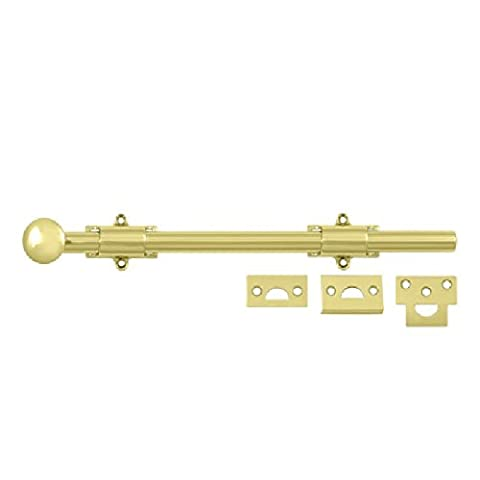 12 in. Heavy Duty Surface Bolt w Strike in Polished Brass Finish