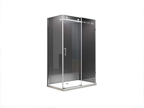 U Form Duschkabine Schiebetür Dusche Ida 120 x 80 x 195cm / 8mm / ohne Duschtasse