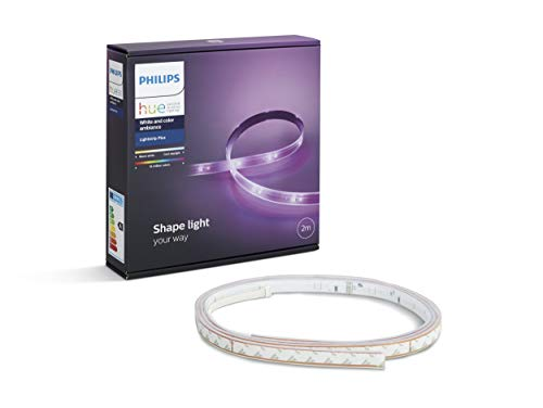 Philips Hue LightStrip+ Basis Set (ohne Bridge), 2m, flexibel erweiterbar, dimmbar, bis zu 16 Millionen Farben, steuerbar via App, kompatibel mit Amazon Alexa (Echo, Echo Dot) -