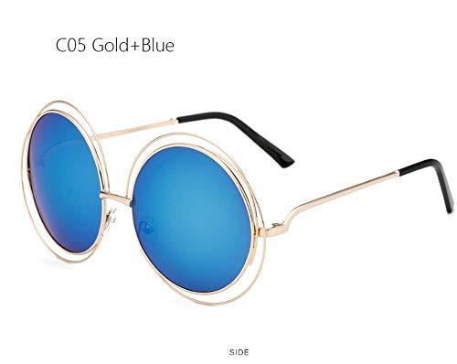 LAMAMAG Sonnenbrille Übergroße runde Sonnenbrille Mode Frauen große größe große Retro Spiegel Sonnenbrille Dame weibliche uv400, vb