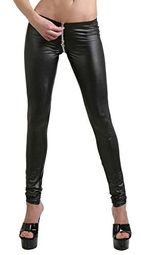 Miss Noir Damen Sexy Leggings im Wetlook Clubwear mit Zwei Wege Reißverschluss (Schwarz, L/XL)