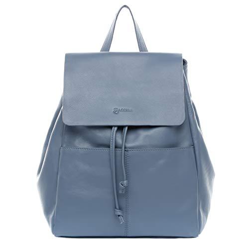 BACCINI Rucksack echt Leder Martha Backpack Tagesrucksack Stadtrucksack Lederrucksack Damen blau