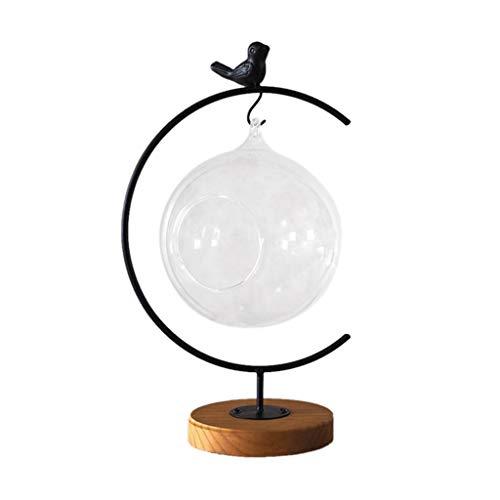 Jiamins Vogel Hängendes Transparentes Rundes Glaskugel   Blumenvase  Pflanzenbehälter Dekor (L# 33x12cm / 12.99x4.72in)
