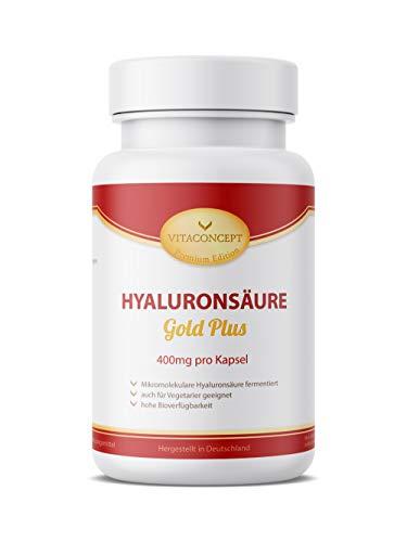 HYALURONSÄURE Gold Plus - 400 mg pro Kapsel - 100 Kapseln fermentiert & Mikro-Molekular (500-700 kDa) für Vegetarier geeignet * MADE IN GERMANY * Gelenke - Haut - Anti-Aging - höchste pharmazeutische Qualität von VITACONCEPT