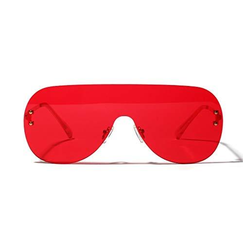 Duhongmei123 Mode Brillen Womens Persönlichkeit Mode Frosch Spiegel Siamesische Randlose Brille, Dekorative Gläser. Occhiali (Farbe : Red)