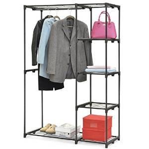 Yahee Garderobenständer Kleiderständer mit 4 Fach Ablage und Schuhablage, zwei Kleiderstangen (Schwarz)