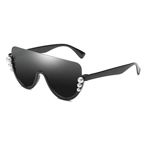 LIUYAWEI Übergroße Perle Half Frame Sonnenbrille Frauen Modemarke Designer Black Shield Brille Damen Halb Randlose Spiegel Sonnenbrille