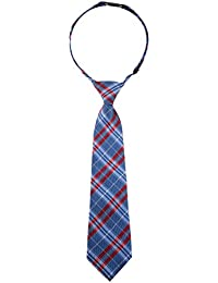 Retreez elegante Plaid Woven PRE-TIED de microfibra de cuadros Boy 's Tie