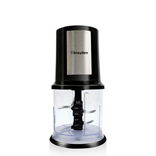 Brayden Chopro Plastic 300 W Express Food Chopper with 4 Bi-Level Stainless Steel Blades (500 ml, Black)