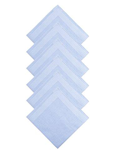 WANYING 6 Stücke Herren Taschentücher Stofftaschentücher mit Streifen 100% Baumwolle 40cm*40cm Blau