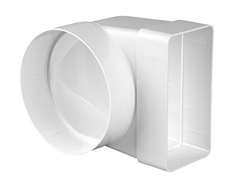 Awenta, elemento di raccordo 90°, per tubo di ventilazione rotondo-rettangolare piatto, 55x 110mm, diametro 103mm