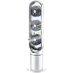 ALIMIGO Ventilateur sur Pied Turbo, Ventilateur de Tour de Chambre entière avec télécommande Silencieux Multiplicateur d'air Minuterie Silencieux Ventilateur Colonne-Blanc