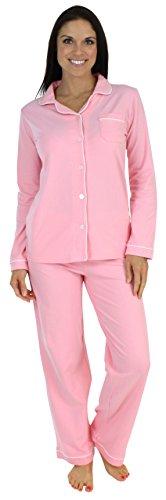 Klassischer Pyjama mit langen Ärmeln für damen von Sleepyheads zweiteiliger schlafanzug, Rosa (Hell-Pink), Gr. M (40-42)