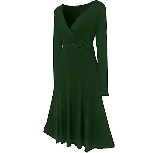 Robe Femme Sexy STYLE VINTAGE ,élégante/Robe de cocktail ,robe à manches longues, Disponible en différents coloris,Taille 36 - 52 Vert Forêt