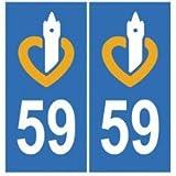 Autocollant plaque immatriculation auto département 59 Nord