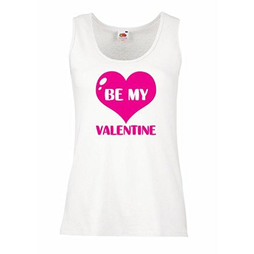 lepni.me Damen Tank-Top Sei Mein Valentinsschatz, Zitate und Sprüche über Liebe super Geschenk (Large Weiß Magenta)