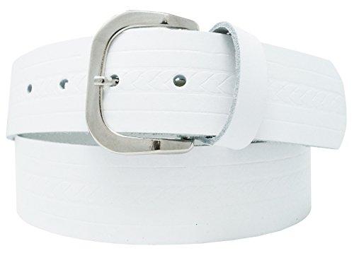 Cinturón de cuero real para mujeres y hombres - Ancho 4 cm - Negro/Marrón / Rojo/Blanco / Gris/Burdeos - Hecho en Alemania (90cm, Blanco)