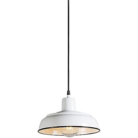 QAZQA Clásico/Antiguo,Industrial,Rústico Lámpara colgante LOGAN blanco porcelana Metal Redonda,Alargada / Adecuado para LED E27 Max. 1 x 40