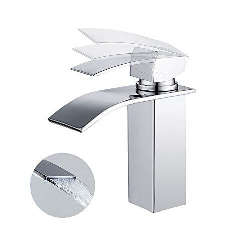 Homelody Bad Waschbecken Armatur Chrom Wasserfall Wasserhahn Badarmatur  Mischbatterie Armatur Einheb