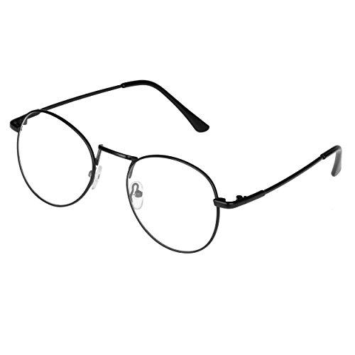 Metall Runde Brille Forepin® Retro Verspiegelte Gläser Clear Lens Eyewear Dekor Mode Metallrahmen Nerdbrille und Federscharnierbügel, Schwarz