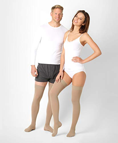 ®BeFit24 Lang medizinische Kompressionsstrümpfe (10-18 mmHg, 70 Den) für Damen und Herren - Stützstrümpfe - Thrombosestrümpfe - Medical Compression Stockings - Beige -