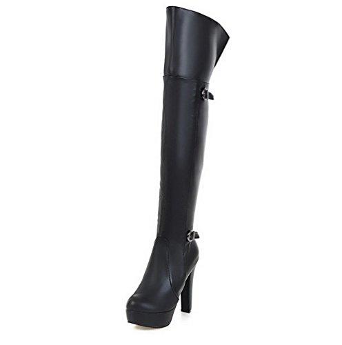 VogueZone009 Donna Cerniera Tacco Alto Puro Alta Altezza Stivali con Fibbia Nero