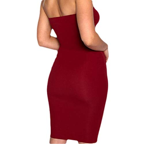 GRMO Women Sleeveless Pure Color Strapless Stretchy Sexy Bodycon Club Midi Dress Wine Red US S Beaded Waist Halter Dress