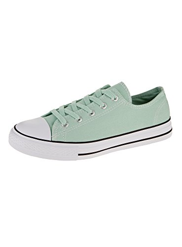 oodji Ultra Donna Sneakers Basic con Finiture a Contrasto Verde (6000N)