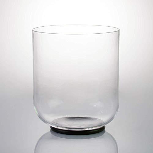 OPFUND Klangschalen G-Note Kristall-Klangschalen Hals-Chakra klar 15 cm (O-Ring und Velourslederaufkleber) -