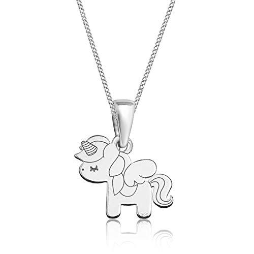 Gravur kleine Tiere Anhänger mit Halskette 925 Echt Silber Mädchen Kinder (M3) Einhorn / 23x14mm, 38)