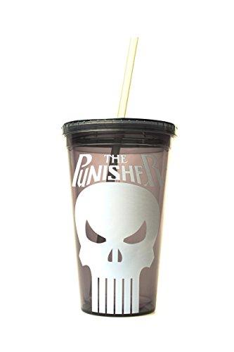 Silber Buffalo pe15087Marvel The Punisher BPA-freiem Kunststoff kalt Tasse mit Deckel und Stroh, 16oz, schwarz