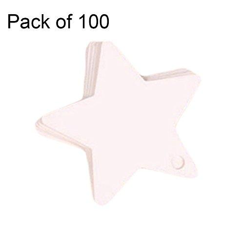 Weimay 100 piezas en forma de estrella etiquetas de regalo de papel Kraft Artesanía etiquetas colgantes para acción de gracias día de Navidad y vacaciones, boda, fiestas