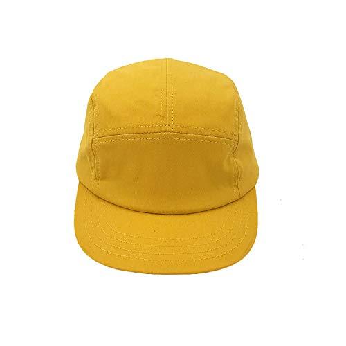 sdssup Material de algodón Ligero y Fresco Tapa de Cinco Piezas Tapa Blanda Tapa Plana Gorra de béisbol Gorra Sombrero Hip-Hop Amarillo Ajustable