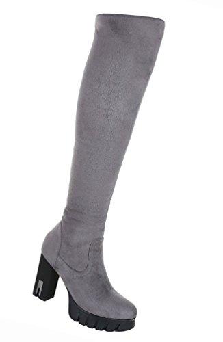 Damen Schuhe Overknee Stiefel Stiefel Overknee High Heels Stiletto Plateau Schwarz Grau 38fe04