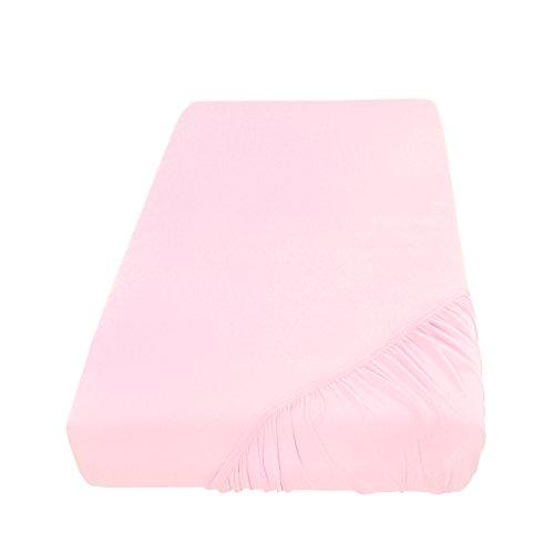 Spannbettlaken Bettlaken 200x220 cm Wasserbetten & Boxspringbetten/Spannbetttuch Spannleintuch aus Jersey Baumwolle in rosa/lachs für Doppelbett-Matratzen