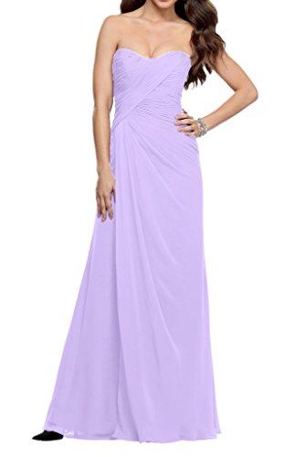 La_Marie Braut Chiffon Einfach Brautjungfernkleider Festlich Damen Formale  Partykleider Bodenlang Schmaler Schnitt Lilac
