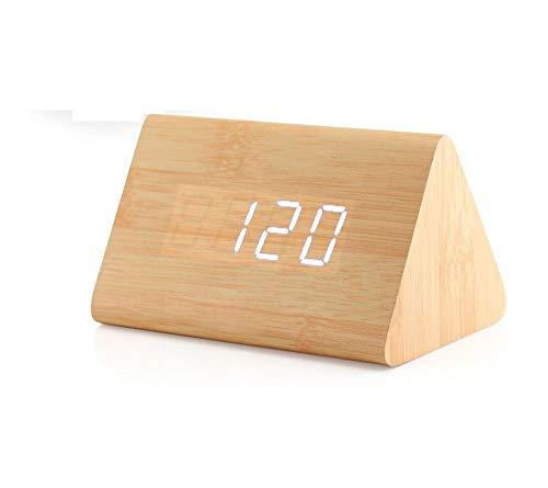Triángulo moderno de madera LED Alarma de madera Reloj de escritorio digital con fecha y temperatura Control de sonido Mesa de escritorio Despertador para niños Dormitorio, Hogar, Oficina-Madera