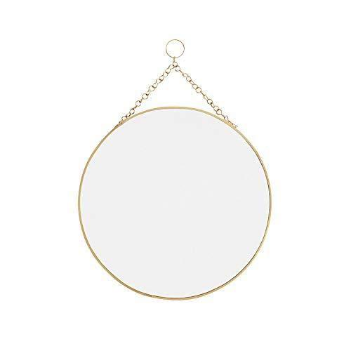 Madam Stoltz runder Spiegel zum Aufhängen in Gold, Durchmesser 30cm