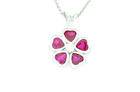 2.5 Ct Created Ruby & Zirconia Heart Bezel Pendant .925 Sterling Silver Rhodium Finish