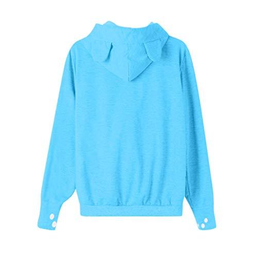 COOKDATE Damen Applique Zip Hood Kapuzenpullover 128551Hellblau Field -