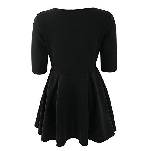 Vertvie Femme Mini Robe Slim Automne à Demi-Manches Dress Plissé Swing Noir