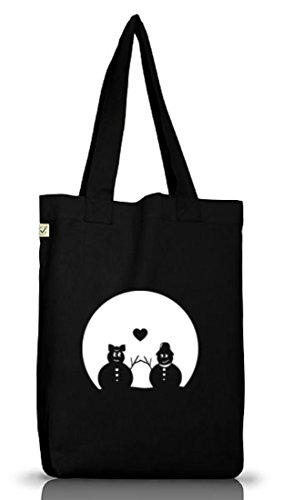 Shirtstreet24, SNOWMAN IN LOVE, Weihnachten Winter Jutebeutel Stoff Tasche Earth Positive (ONE SIZE) Black