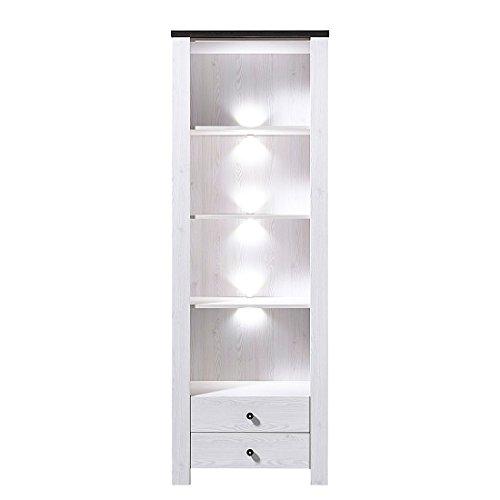 Peter ANLL711005 Wandregal Aufbewahrungsregal Standregal Bücherregal mit LED Beleuchtung, Holz, weiß, 40.0 x 70.0 x 203.0 cm
