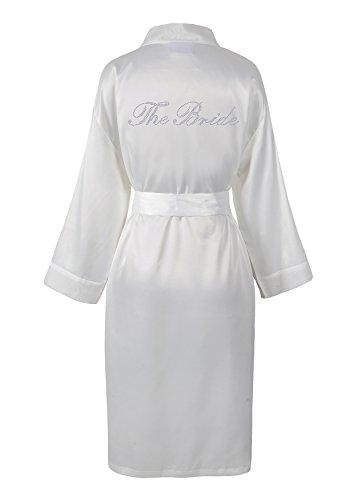 Matrimonio sposa strass, raso di accappatoio, vestaglia, personalizzato, Honeymoon avorio Small