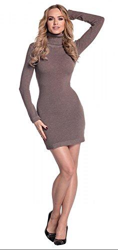Glamour Empire. Damen Strickkleid Minikleid mit Stehkragen Rollkragen. 888 Cappuccino