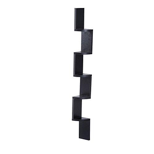 Homcom mensola angolare a 5 ripiani in legno, motivo a zig zag, libreria sospesa a parete, espositore per cd/dvd (nero)