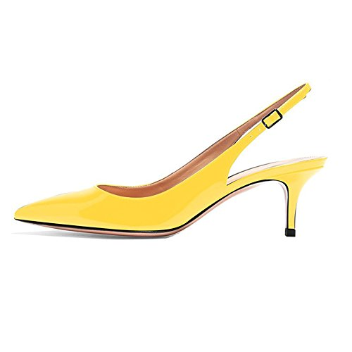 EKS Frauen Spitzschuh Mid Heels Slingback Patent Kleid Party Pumps Schuhe Gelb 36 EU